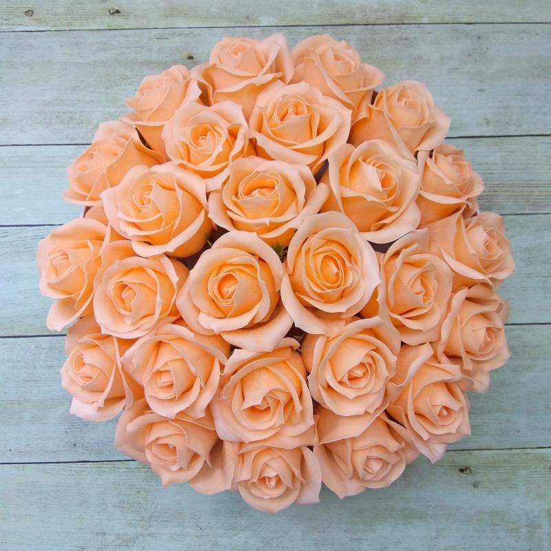 Illatos rózsabox barackszínű - deluxe 26 szálas
