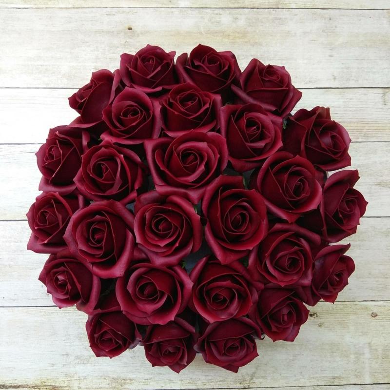 Bordó rózsabox - 26 szálas