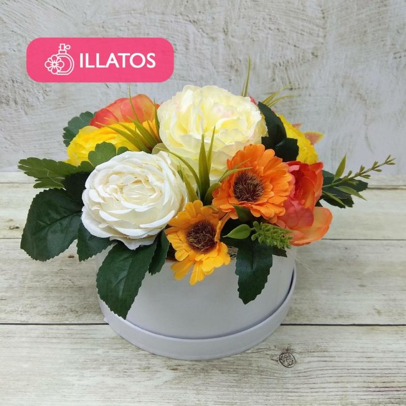 Illatos virágbox narancssárga - mini