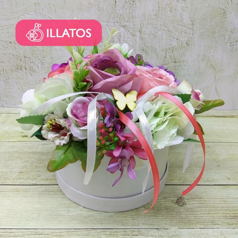 Illatos virágbox rózsaszín - lila - mini