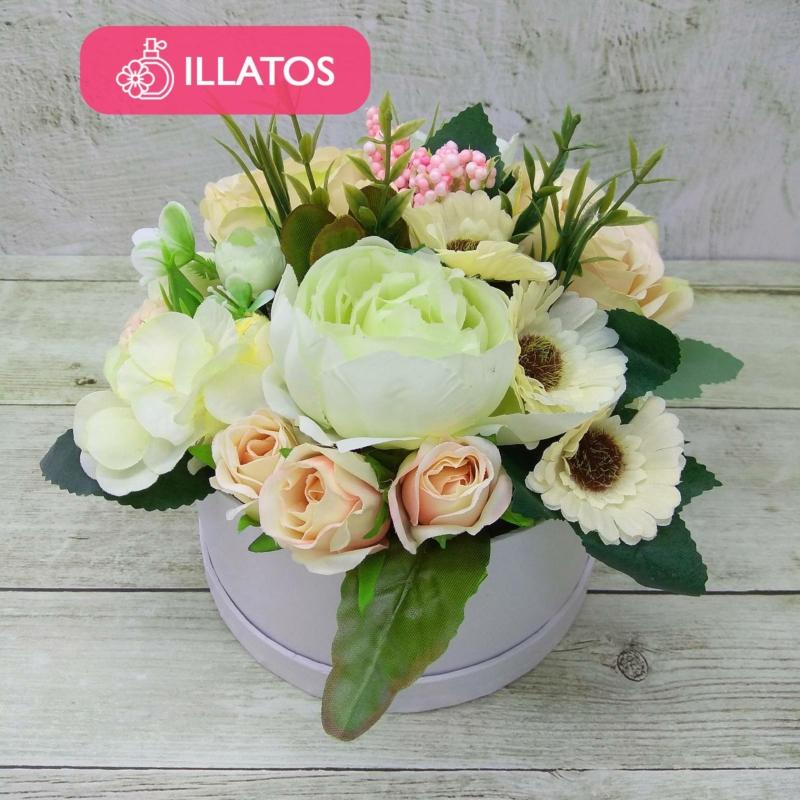 Illatos krémszínű virágbox - mini